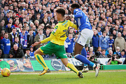 Ipswich Town defender Dominic Iorfa (2) and Norwich City defender Jamal Lewis (26) during the EFL Sky Bet Championship match between Norwich City and Ipswich Town at Carrow Road, Norwich, England on 18 February 2018. Picture by Nigel Cole.