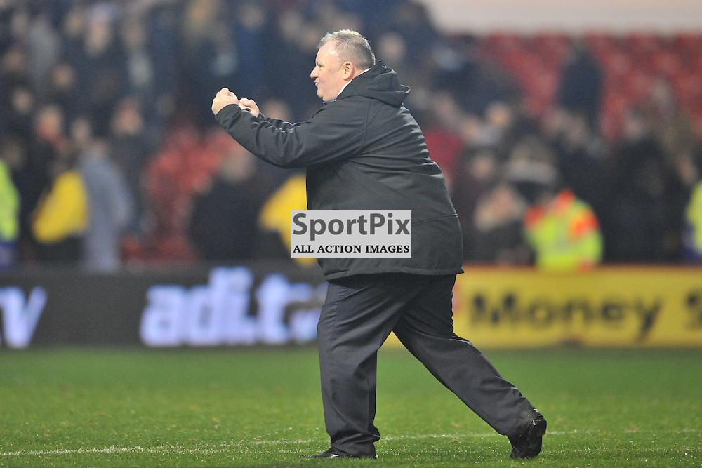 Leeds Manager Steve Evans celebrates to the Leeds Fans on the Final Whistle, Nottingham Forest v Leeds United, Sky Bet Championship, City Ground, Sunday 27th December 2015