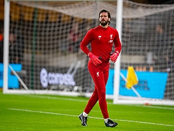 WOLVERHAMPTON, ENGLAND - Thursday, January 23, 2020: Liverpool's goalkeeper Alisson Becker during the pre-match warm-up before the FA Premier League match between Wolverhampton Wanderers FC and Liverpool FC at Molineux Stadium. (Pic by David Rawcliffe/Propaganda)