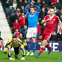 Aberdeen v St Johnstone....01.02.14   League Cup Semi-Final<br /> Lee Croft reacts as Jamie Langfield pushes his shot wide<br /> Picture by Graeme Hart.<br /> Copyright Perthshire Picture Agency<br /> Tel: 01738 623350  Mobile: 07990 594431
