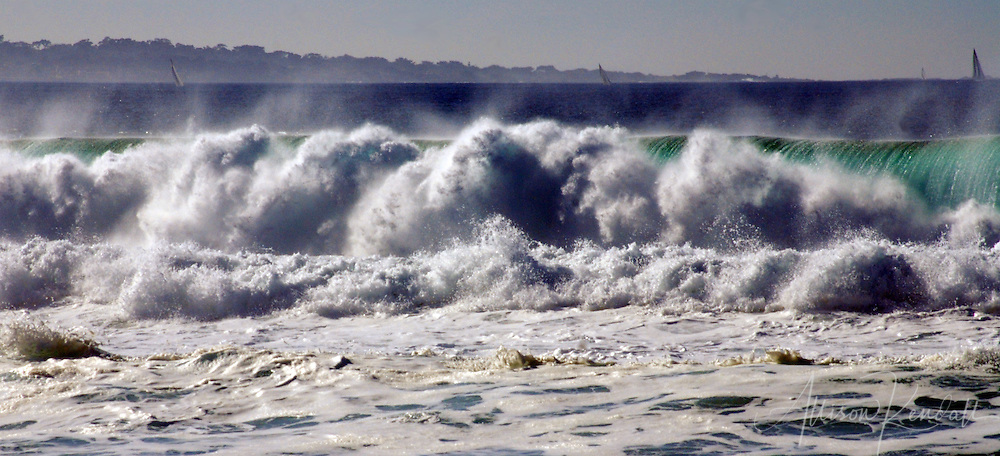 Winter waves break heavy on the beaches of Monterey Bay