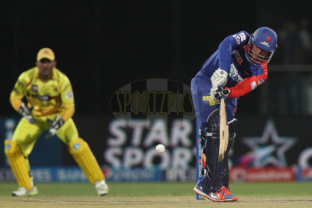 Quinton de Kock of the Delhi Daredevils plays a delivery down the leg side during match 26 of the Pepsi Indian Premier League Season 2014 between the Delhi Daredevils and the Chennai Super Kings held at the Feroze Shah Kotla cricket stadium, Delhi, India on the 5th May  2014<br /> <br /> Photo by Shaun Roy / IPL / SPORTZPICS<br /> <br /> <br /> <br /> Image use subject to terms and conditions which can be found here:  http://sportzpics.photoshelter.com/gallery/Pepsi-IPL-Image-terms-and-conditions/G00004VW1IVJ.gB0/C0000TScjhBM6ikg