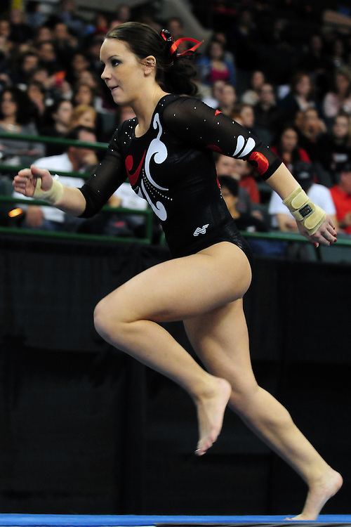 University of Utah junior Stephanie McAllister takes off down the runway for her second vault at the 2011 Women's NCAA Gymnastics Championship Individual Event Finals on April 17, in Cleveland, OH. McAllister tied for 13th place. (photo/Jason Miller)