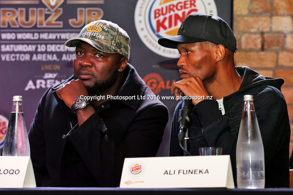 Ayanda Matiti (L) and Ali Funeka, Final press conference before the December 10, Parker v Ruiz, WBO world boxing heavyweight title fight. Rec Bar, Auckland. 8 December 2016 / www.photosport.nz
