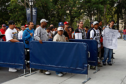 September 10, 2009; Bronx, NY; USA; Fans line up outside Yankee Stadium before the press conference announcing the November 14, 2009 fight between Manny Pacquiao and Miguel Cotto.  The two will meet at the MGM Grand Garden Arena in Las Vegas, NV.