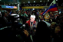 Slovenian athlete Petra Majdic with journalists when she arrived home with cristal globus at the end of the nordic season 2008/2009, on March 23, 2009, at airport Jozeta Pucnika, Brnik, Slovenia. (Photo by Vid Ponikvar / Sportida)