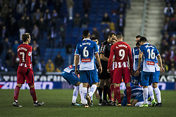 December 22, 2017 - Barcelona, Spain - BARCELONA, SPAIN - DECEMBER 22:  Atletico de Madrid players arguing against the referee during the match of La Liga Santander between RCD Espanyol v Atletico de Madrid, at RCD Stadium in Barcelona on 22 of December, 2017. (Credit Image: © Xavier Bonilla/NurPhoto via ZUMA Press)