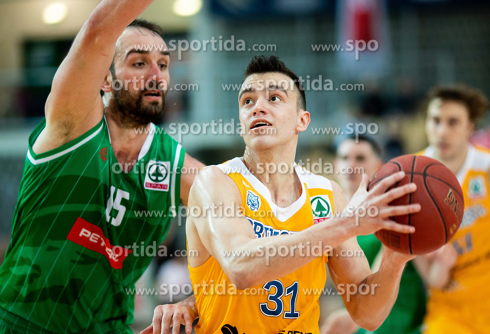 Mirza Begic of Petrol Olimpija vs Zan Mark Sisko of Sixt Primorska during basketball match between KK Sixt Primorska and KK Petrol Olimpija in semifinal of Spar Cup 2018/19, on February 16, 2019 in Arena Bonifika, Koper / Capodistria, Slovenia. Photo by Vid Ponikvar / Sportida