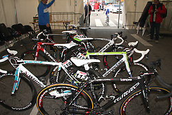 Bicycles of Slovenian riders during the Men's Elite Road Race at the UCI Road World Championships on September 25, 2011 in Copenhagen, Denmark. (Photo by Marjan Kelner / Sportida Photo Agency)