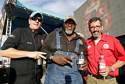 IMAGE DISTRIBUTED FOR SMITHFIELD - Smithfield Hog Wild Throwdown judges from left: Kevin Kolman, Moe Cason, and Tuffy Stone, after judging the finalists' recipes at the at the American Royal World Series of Barbecue, sponsored by Smithfield on Saturday, Oct. 29, 2016 in Kansas City, Kansas. (Colin E. Braley/AP Images for Smithfield)