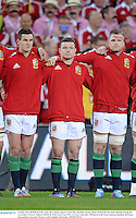 22 June 2013; British & Irish Lions and Leinster players, from left, Jonathan Sexton, Brian O'Driscoll and Jamie Heaslip during the Australian National Anthem. British & Irish Lions Tour 2013, 1st Test, Australia v British & Irish Lions, Suncorp Stadium, Brisbane, Queensland, Australia. Picture credit: Stephen McCarthy / SPORTSFILE