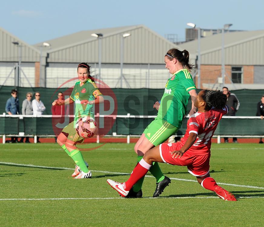 Bristol Academy's Jade Boho Sayo shot is denied by Sunderland AFC Ladies' Kelly McDougall - Mandatory by-line: Paul Knight/JMP - 25/07/2015 - SPORT - FOOTBALL - Bristol, England - Stoke Gifford Stadium - Bristol Academy Women v Sunderland AFC Ladies - FA Women's Super League