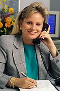 Woman telephone operator or customer service representative.