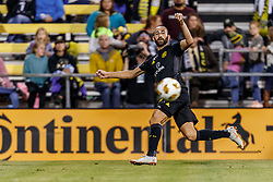 September 22, 2018 - Columbus, OH, U.S. - COLUMBUS, OH - SEPTEMBER 22: Columbus Crew forward Pedro Santos (9) passes the ball toward the goal in the MLS regular season game between the Columbus Crew SC and the Colorado Rapids on September 22, 2018 at Mapfre Stadium in Columbus, OH. The Crew won 2-1. (Photo by Adam Lacy/Icon Sportswire) (Credit Image: © Adam Lacy/Icon SMI via ZUMA Press)
