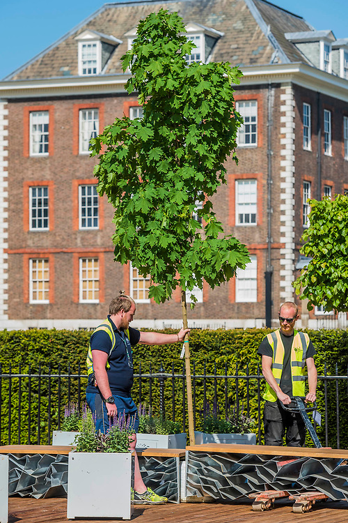 A tree arrives on The Seedlip Garden, Sponsor: Seedlip, Designer: Dr Catherine MacDonald, and Contractor: Landform - The RHS Chelsea Flower Show at the Royal Hospital, Chelsea.