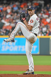 May 1, 2018 - Houston, TX, U.S. - HOUSTON, TX - MAY 01: Houston Astros pitcher Justin Verlander (35) delivers a pitch during the baseball game between the New York Yankees and Houston Astros on May 1, 2018 at Minute Maid Park in Houston, Texas (Photo by Ken Murray/Icon Sportswire) (Credit Image: © Ken Murray/Icon SMI via ZUMA Press)