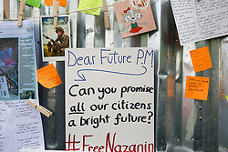 "© Licensed to London News Pictures. 21/06/2019. London, UK. A message for the future British Prime Minister outside the Iranian Embassy where Richard Ratcliffe, the husband of imprisoned Iranian-British national Nazanin Zaghari-Ratcliffe who is on the seventh day of a hunger strike, in solidarity with his wife, who is refusing to eat in protest at her ""unfair imprisonment"" in Iran on spying charges. Photo credit: Dinendra Haria/LNP"