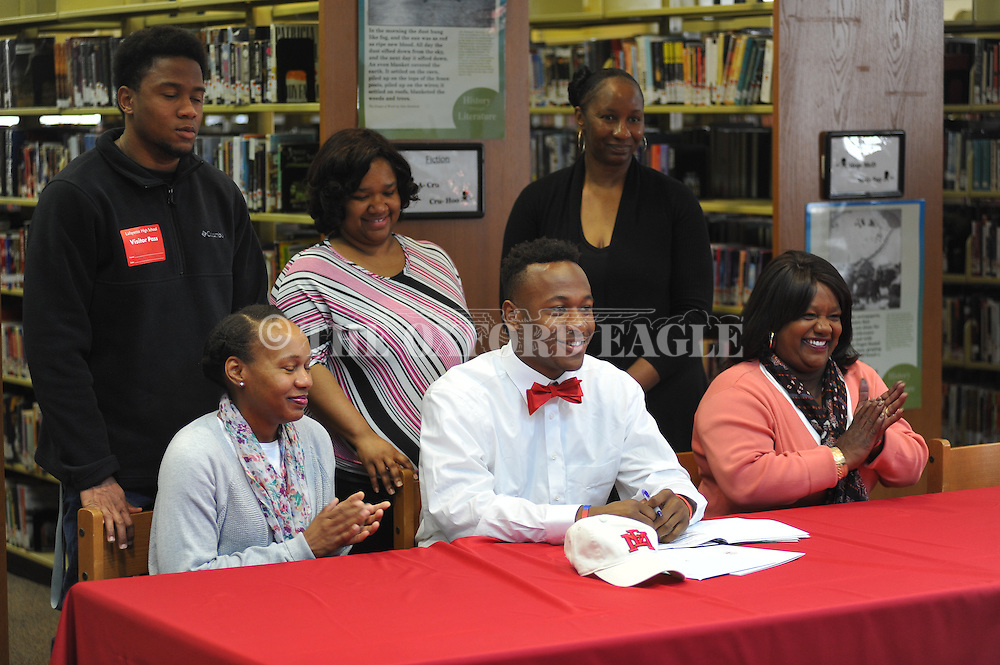 Lafayette High's Quin Jones attends a National Signing Day event at Lafayette High School in Oxford, Miss. on Wednesday, February 3, 2016.