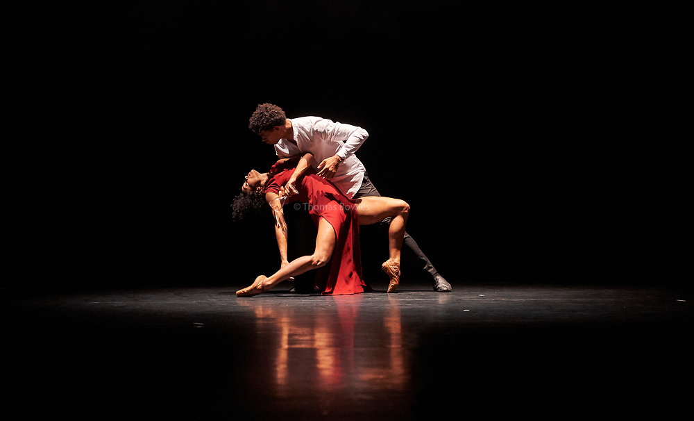 26th September 2017, London.Acosta Danza, the new dance company founded by  Carlos Acosta, UK premiere at Sadler's Wells.<br /> <br /> The piece shown is: 'Mermaid' by Sidi Larbi Cherkaoui.<br /> Performed by  Marta Ortega and Carlos Acosta.