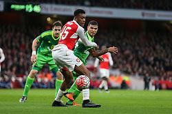 Alex Iwobi of Arsenal keeps DeAndre Yedlin of Sunderland back off the ball - Mandatory byline: Jason Brown/JMP - 07966386802 - 09/01/2016 - FOOTBALL - Emirates Stadium - London, England - Arsenal v Sunderland - The Emirates FA Cup