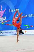 Mazur Viktoria of Ukrain competes during the Rhythmic Gymnastics Women's Individual ribbon Qualification of World Cup of Pesaro on April 2, 2016. Viktoria is ritired gymnast born in Luhansk  Ukraine in 1994.