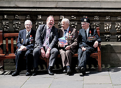 D-Day 75th anniversary, Edinburgh, Friday 6th June 2019<br /> <br /> A service to commemorate the 75th anniversary of the D-Day<br /> landings was organised by Armed Forces charity Legion<br /> Scotland and The French Consulate General.<br /> <br /> It was attended by 15 D-Day veterans, 4 of whom received the Knight of the Légion d'Honneur Cross, serving personnel, various dignitaries and Graeme Dey, the Scottish Government's Minister for Parliamentary Business and<br /> Veterans. <br /> <br /> Pictured:  David Livingston (97, Royal Navy, centre) received the medal and is flanked by previous recipients Jack Adamson (100, Black Watch, right) and Robert Paton (94, wireless operator, left) with Graeme Dey MSP <br /> <br /> Alex Todd | Edinburgh Elite media