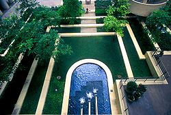 Stock photo of an elevated view of a secluded courtyard.
