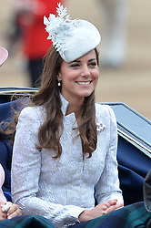 Image ©Licensed to i-Images Picture Agency. 14/06/2014. <br /> <br /> Pictured, Kate The Duchess of Cambridge  arrives at Horse Guards Parade.<br /> <br /> Trooping The Colour, Her Majesty The Queens Birthday Parade at Horse Guards Parade, London, UK.<br /> <br /> Saturday 14th of June 2014.<br /> Picture by Ben Stevens / i-Images