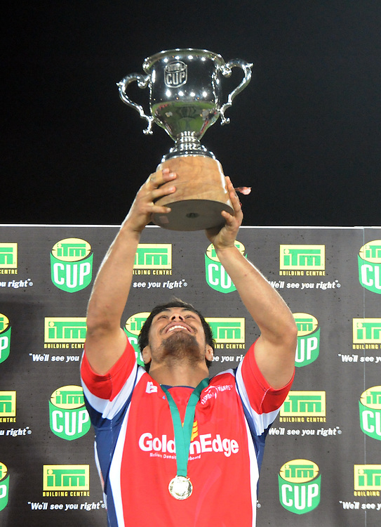 Tasmans' Shane Christie with the ITM cup after defeating Hawkes Bay in the ITM Cup Championship Final at Trafalgar Park, Nelson, New Zealand, Friday, October 25, 2013. Credit:SNPA / Ross Setford