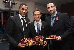 CARDIFF, WALES - Wednesday, November 11, 2009: Wales' Ashley Williams, Joe Allen and Craig Morgan receive their international caps during the Football Association of Wales Player of the Year Awards hosted by Brains SA at the Cardiff City Stadium. (Pic by David Rawcliffe/Propaganda)
