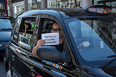 21 Apr.2015 - Black Cabs bring Oxford St. to a halt in London protest.