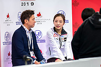KELOWNA, BC - OCTOBER 25:  Japanese figure skater Marin Honda awaits her score at Skate Canada International in the ladies short program at Prospera Place on October 25, 2019 in Kelowna, Canada. (Photo by Marissa Baecker/Shoot the Breeze)