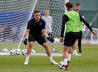 SAINT PETERSBURG, RUSSIA - JUNE 13: Jack Butland (L) of England national team during an England national team training session ahead of the FIFA World Cup 2018 in Russia at Stadium Spartak Zelenogorsk on June 13, 2018 in Saint Petersburg, Russia.