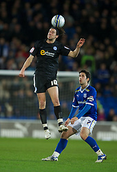 CARDIFF, WALES - Tuesday, February 14, 2012: Peterborough United's George Boyd in action against Cardiff City during the Football League Championship match at the Cardiff City Stadium. (Pic by David Rawcliffe/Propaganda)