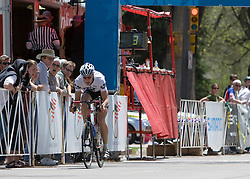 Craig Leukens (Yale University) bridges the gap to Spencer Beamer (Furman University) with 3 laps to go.  The 2008 USA Cycling Collegiate National Championships Criterium men's division 2 event held in Fort Collins, CO on May 11, 2008.