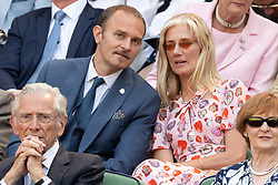 © Licensed to London News Pictures. 03/07/2018. London, UK. Carlo Nero and Joely Richardson watch centre court tennis in the royal box on the second day of the Wimbledon Tennis Championships 2018. Photo credit: Ray Tang/LNP