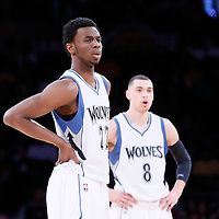 10 April 2014: Minnesota Timberwolves forward Andrew Wiggins (22) rests close to Minnesota Timberwolves guard Zach LaVine (8) during the Los Angeles Lakers 106-98 victory over the Minnesota Timberwolves, at the Staples Center, Los Angeles, California, USA.