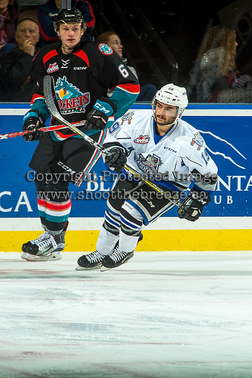 KELOWNA, CANADA - OCTOBER 4: Dante Hannoun #19 of the Victoria Royals skates against the Victoria Royals on October 4, 2017 at Prospera Place in Kelowna, British Columbia, Canada.  (Photo by Marissa Baecker/Shoot the Breeze)  *** Local Caption ***