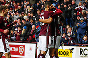 Hearts FC Forward Osman Sow celebrates the goal during the Ladbrokes Scottish Premiership match between Heart of Midlothian and Motherwell at Tynecastle Stadium, Gorgie, Scotland on 16 January 2016. Photo by Craig McAllister.
