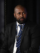 Bermuda coach Kyle Lightbourne during CONCACAF Gold Cup groups unveiling news conference, Wednesday, April 10, 2019, in Los Angeles.