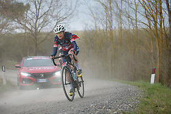 Doris Schweizer (Veloconcept) chases back through the dust and cars at Strade Bianche - Elite Women. A 127 km road race on March 4th 2017, starting and finishing in Siena, Italy. (Photo by Sean Robinson/Velofocus)
