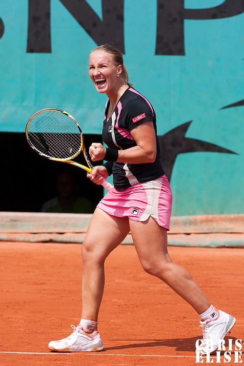 3 June 2009: Svetlana Kuznetsova of Russia celebrates during the Women's single quarter final match on day eleven of the French Open at Roland Garros in Paris, France.