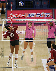October 7, 2018 - Tucson, AZ, U.S. - TUCSON, AZ - OCTOBER 07: Arizona Wildcats setter Julia Patterson (4) and Arizona Wildcats middle blocker Shardonee Hayes (3) tries to block the ball during a college volleyball game between the Arizona Wildcats and the Washington State Cougars on October 07, 2018, at McKale Center in Tucson, AZ. Washington State defeated Arizona 3-2. (Photo by Jacob Snow/Icon Sportswire) (Credit Image: © Jacob Snow/Icon SMI via ZUMA Press)
