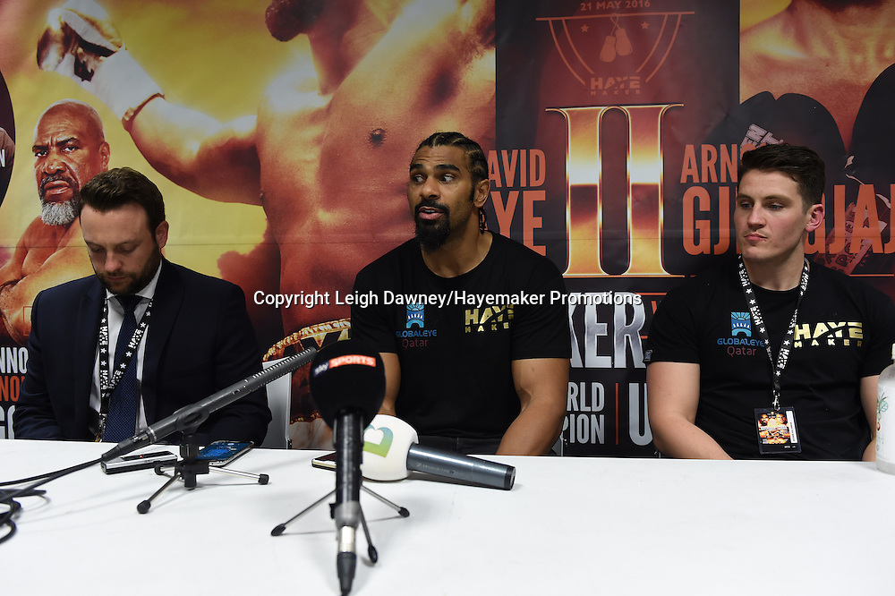 David Haye speaks in a post fight press conference after he defeated Arnold Gjergjaj in heavyweight contest at the 02 Arena, London on the 21st May 2016. Photo credit: Leigh Dawney/Hayemaker Promotions