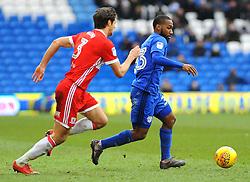 George Friend of Middlesbrough chases down Junior Hoilett of Cardiff City- Mandatory by-line: Nizaam Jones/JMP - 17/02/2018 -  FOOTBALL - Cardiff City Stadium - Cardiff, Wales -  Cardiff City v Middlesbrough - Sky Bet Championship