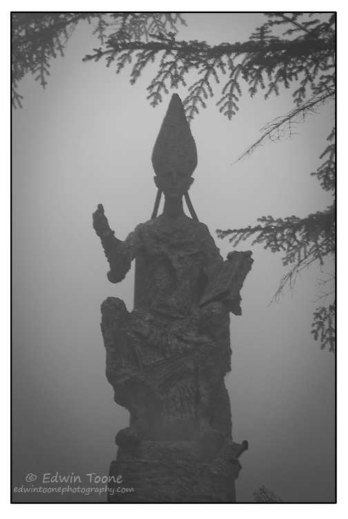 Statue of a a bishop in the fog.