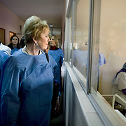 Congresswoman Kay Granger, looks in on the nursery at the Dos de Mayo Hospital in Lima, during the CARE Learning Tours visit to the hospital...Dos De Mayo hospital is run by the Ministry of Health and located in Lima's historic center.