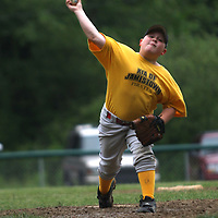 Andrew Sisson pitching for the Kia Pirates at Michael LaGrega Memorial field 6-18 photo by Mark L. Anderson