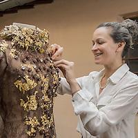 Bernachon's Chocolate dress for thr 20th Parisian Chocolate Trade Show