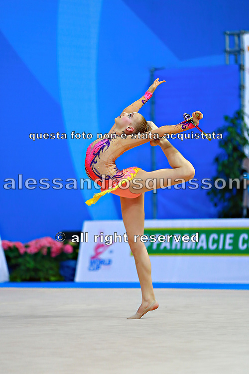 "Andreotti Jaedyn during clubs routine at the International Tournament of rhythmic gymnastics ""Città di Pesaro"", 02 April,2016. Jaedyn is an Canadian individualistic gymnast, born in  Calgary, 2002.<br />